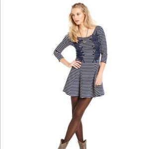 Free People navy and white striped pleated dress